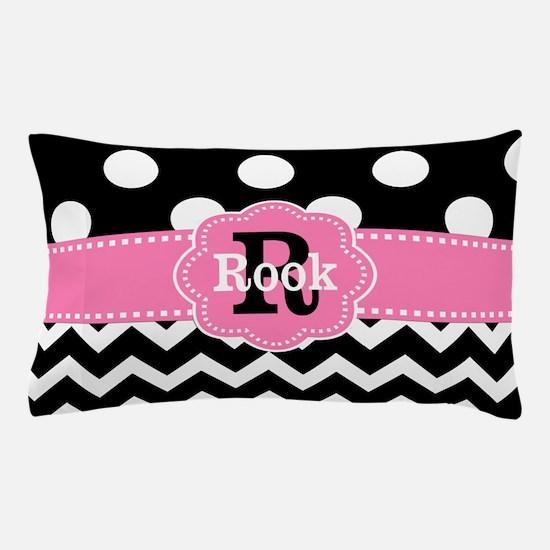 Black Pink Dots Chevron Personalized Pillow Case