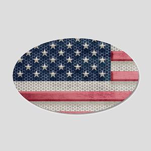 Vintage American Flag Metal Look Wall Decal