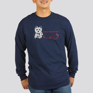 Westhighland White Terrier Re Long Sleeve Dark T-S