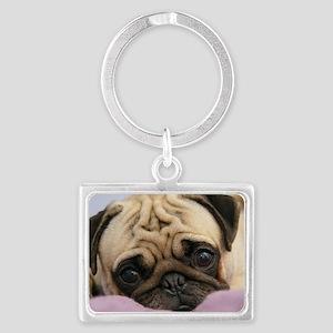 Pug Puppy Landscape Keychain