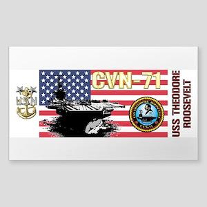 CVN-71 USS Theodore Roosevelt Sticker (Rectangle)