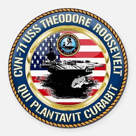 CVN-71 USS Theodore Roosevelt Round Car Magnet