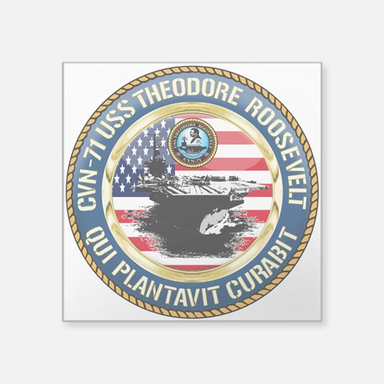 "CVN-71 USS Theodore Rooseve Square Sticker 3"" x 3"""