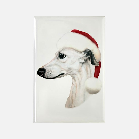White Whippet Santa Rectangle Magnet