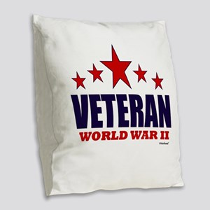 Veteran World War II Burlap Throw Pillow