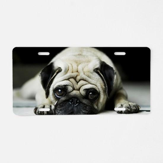 Pug Puppy Aluminum License Plate