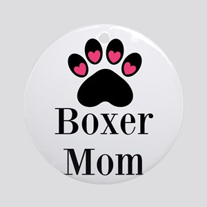 Boxer Mom Paw Print Ornament (Round)
