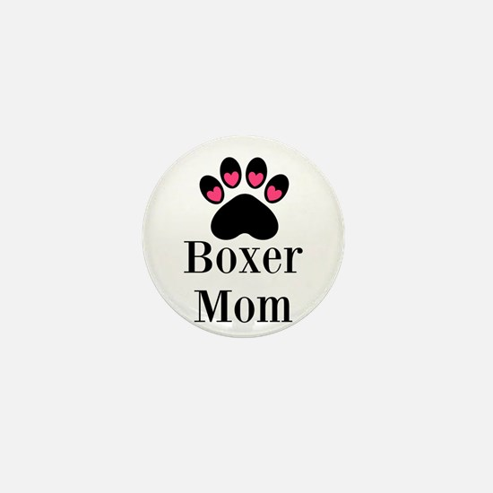 Boxer Mom Paw Print Mini Button