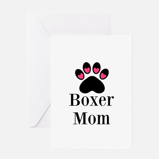 Boxer Mom Paw Print Greeting Cards