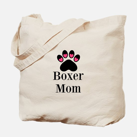 Boxer Mom Paw Print Tote Bag