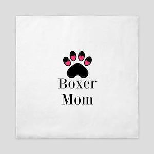 Boxer Mom Paw Print Queen Duvet