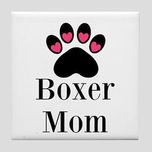Boxer Mom Paw Print Tile Coaster