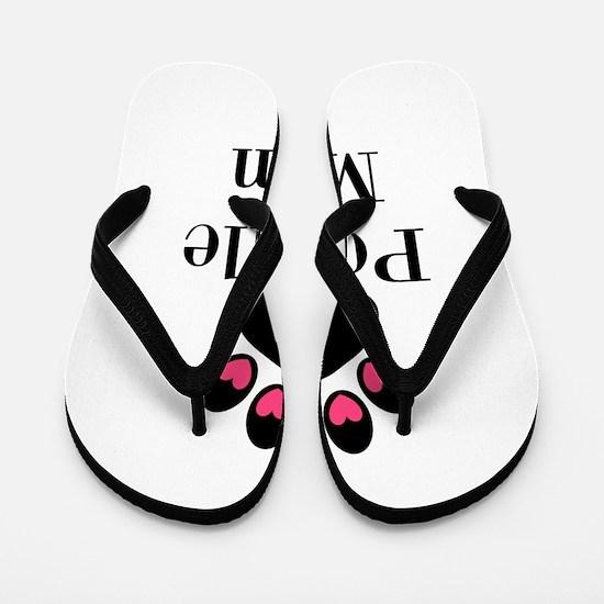 Poodle Mom Paw Print Flip Flops