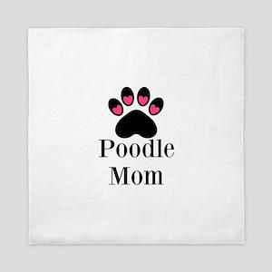 Poodle Mom Paw Print Queen Duvet
