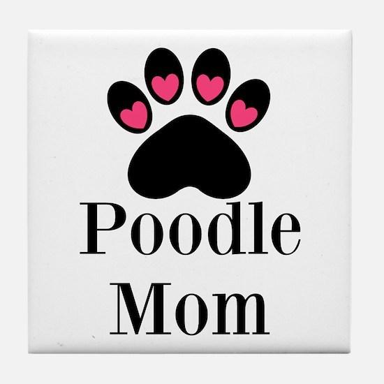 Poodle Mom Paw Print Tile Coaster