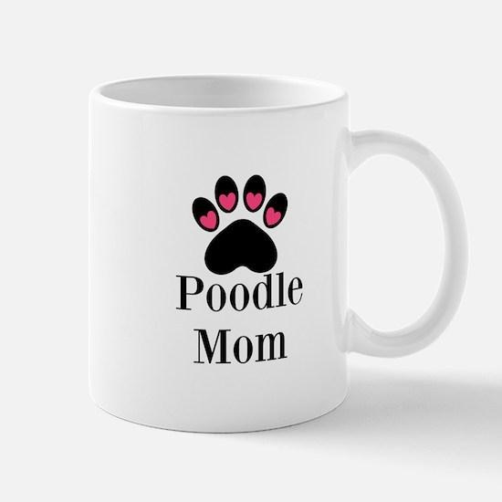 Poodle Mom Paw Print Mugs