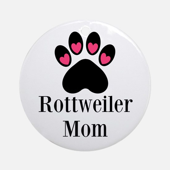 Rottweiler Mom Paw Print Ornament (Round)
