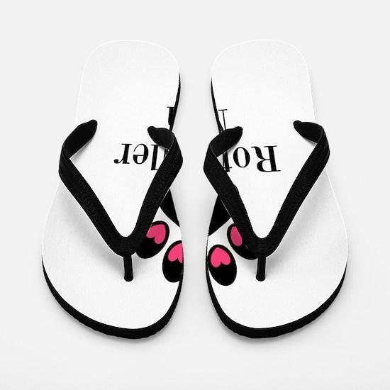 Rottweiler Mom Paw Print Flip Flops