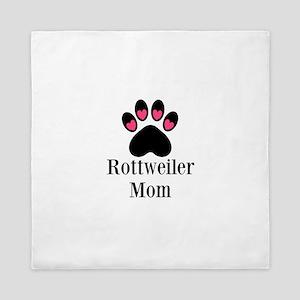 Rottweiler Mom Paw Print Queen Duvet