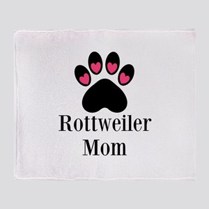 Rottweiler Mom Paw Print Throw Blanket