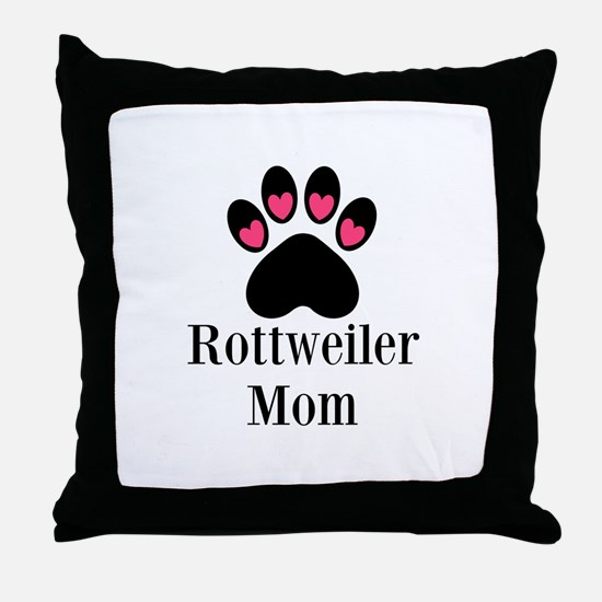 Rottweiler Mom Paw Print Throw Pillow