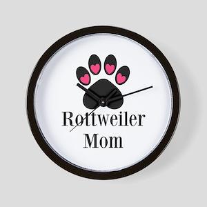 Rottweiler Mom Paw Print Wall Clock
