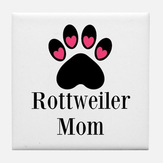 Rottweiler Mom Paw Print Tile Coaster
