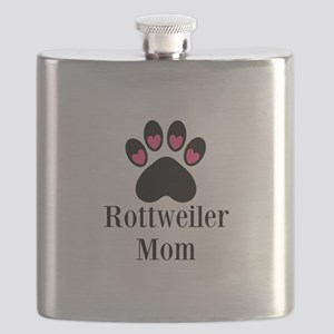 Rottweiler Mom Paw Print Flask
