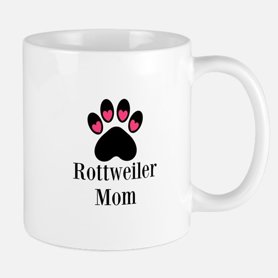 Rottweiler Mom Paw Print Mugs