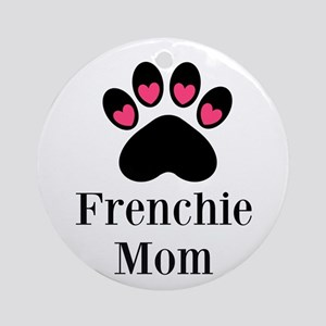 Frenchie Mom Paw Print Ornament (Round)