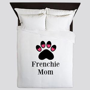 Frenchie Mom Paw Print Queen Duvet
