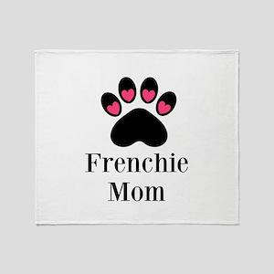 Frenchie Mom Paw Print Throw Blanket