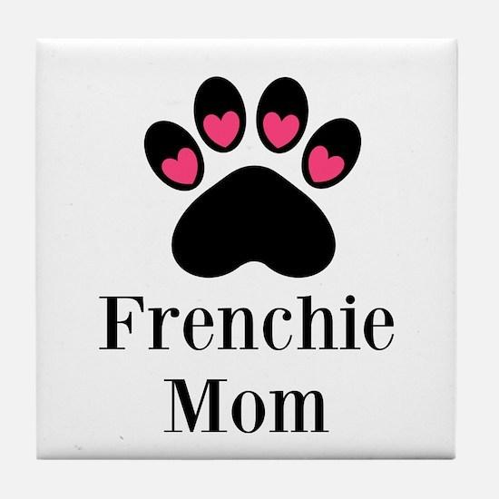 Frenchie Mom Paw Print Tile Coaster