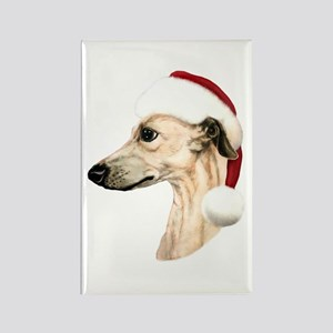 Fawn Whippet Santa Rectangle Magnet