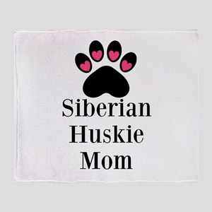 Siberian Huskie Mom Throw Blanket