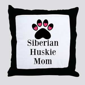 Siberian Huskie Mom Throw Pillow