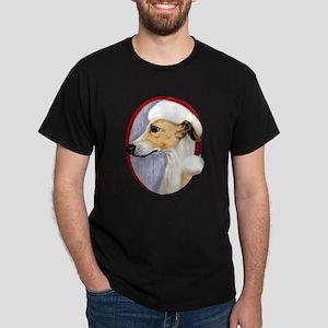 Tan & White Whippet Santa Dark T-Shirt