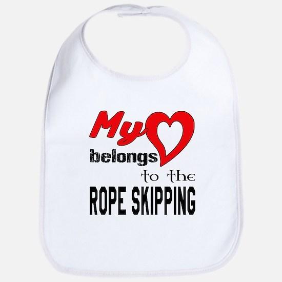 My Heart belongs to the Rope Skipp Cotton Baby Bib