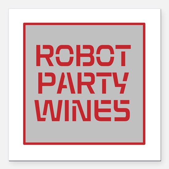 "ROBOT PARTY RED Square Car Magnet 3"" x 3"""