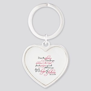 Jeremiah 29:11 - For I know the pla Heart Keychain