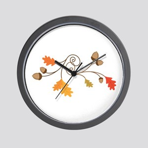Leaves & Acorn Swirl Wall Clock