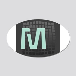 Cool Mint Monogram 20x12 Oval Wall Decal