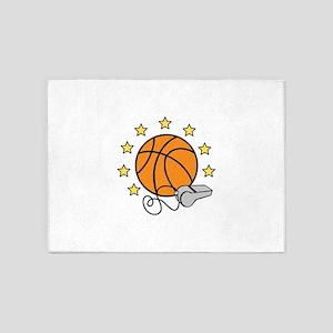 Basketball & Whistle 5'x7'Area Rug