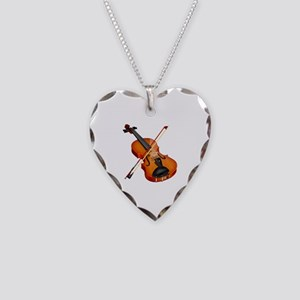 Beautiful Violin and Bow Musi Necklace Heart Charm