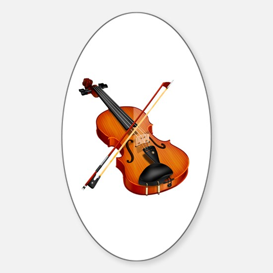 Beautiful Violin and Bow Musical In Sticker (Oval)
