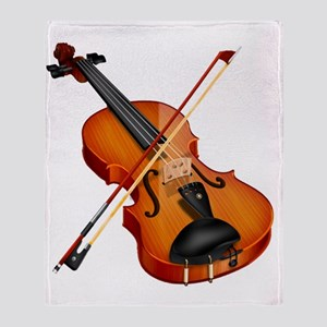 Beautiful Violin and Bow Musical Ins Throw Blanket
