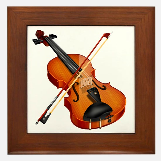 Beautiful Violin and Bow Musical Instr Framed Tile