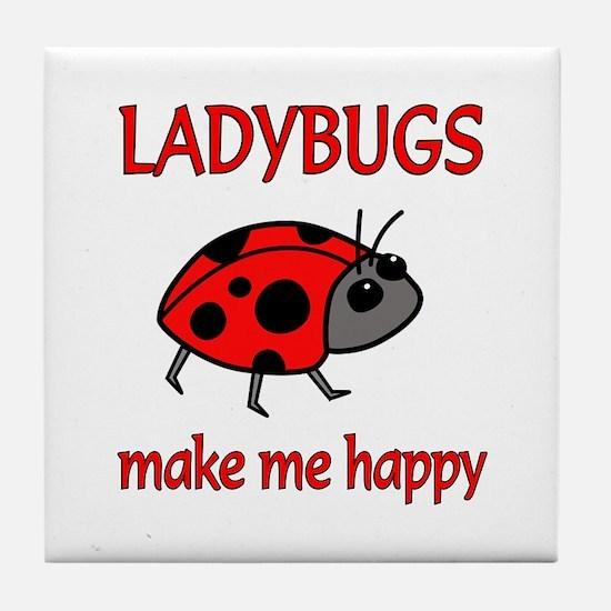 Ladybug Happy Tile Coaster