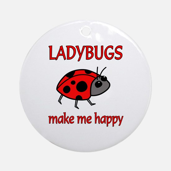 Ladybug Happy Ornament (Round)