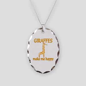 Giraffe Happy Necklace Oval Charm